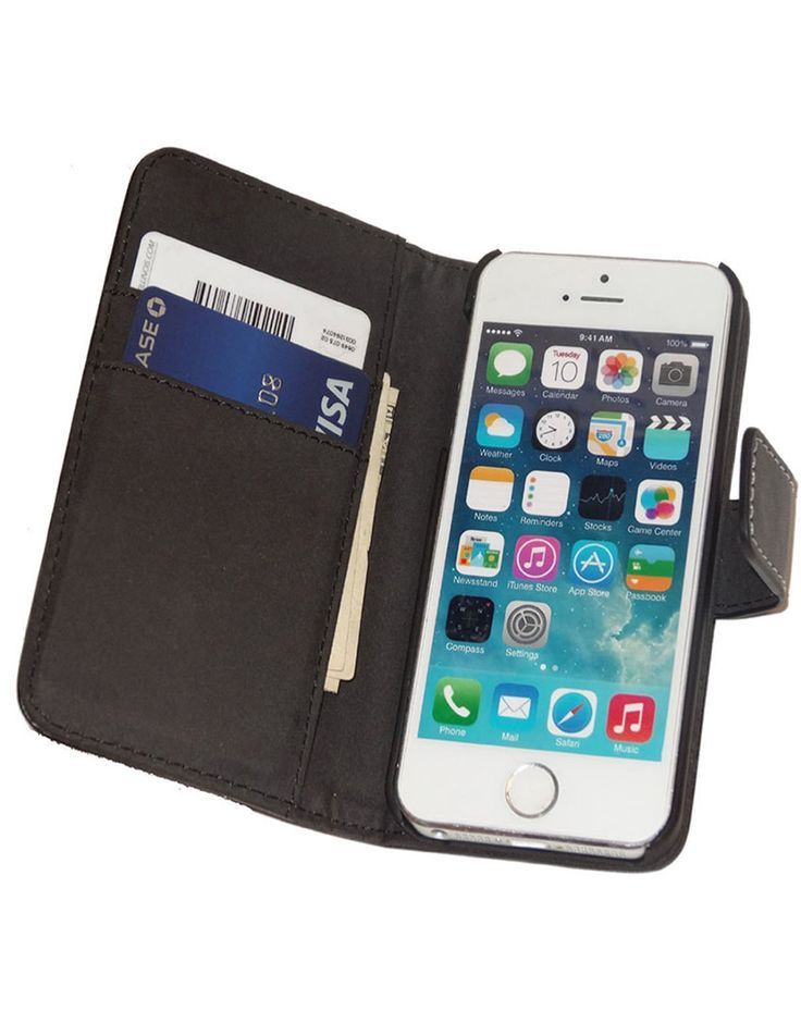 Fliptroniks Apple Iphone 5s Black Real Leather Wallet Flip Case Panther Series