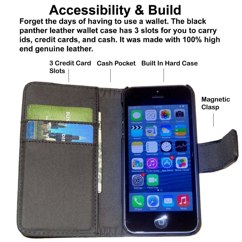 best service d9844 332b3 Fliptroniks Apple Iphone 5s Black Real Leather Wallet Flip Case Panther  Series