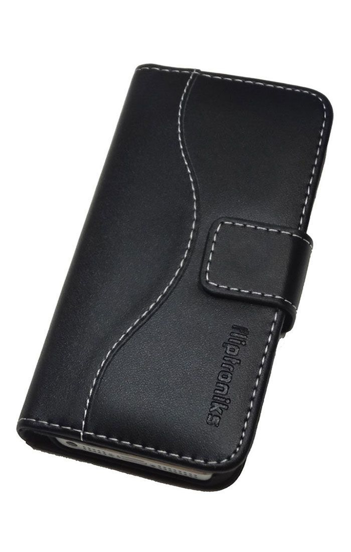Fliptroniks Apple Iphone 5s Black Real Leather Wallet Flip Case Panther Series
