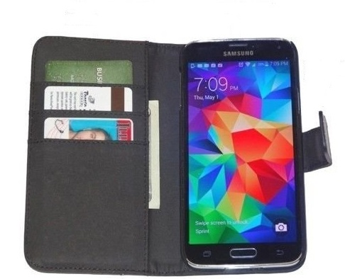 Fliptroniks Galaxy S5 Black Real Leather Wallet Case Panther Series