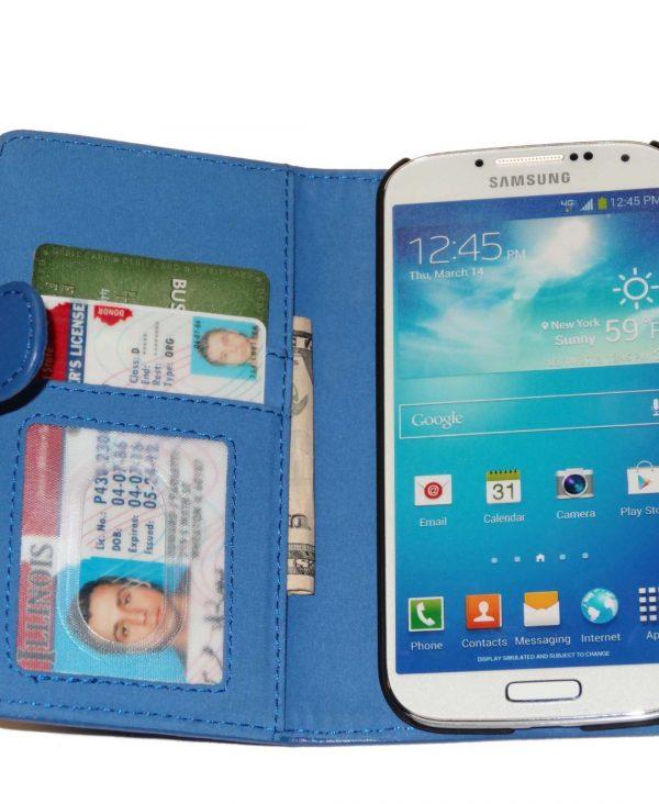 Fliptroniks Blue Leather Wallet Flip Case for Samsung Galaxy S4
