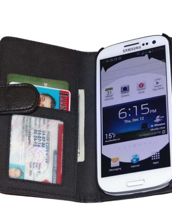 Fliptroniks Black Leather Wallet Flip Case for Samsung Galaxy S3