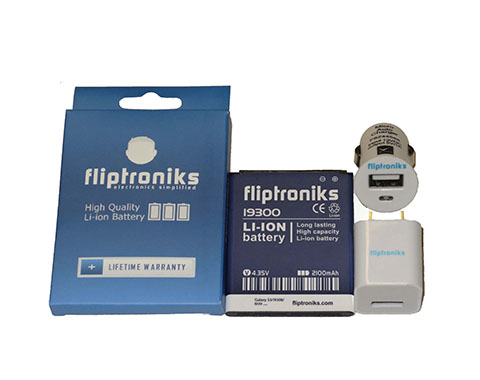 Fliptroniks 2100 Battery For Samsung Galaxy SIII GT-I9300 W Wall & Car Charger