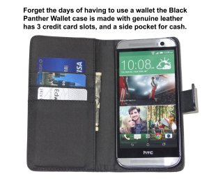 Fliptroniks Black Panther Leather Wallet Case for HTC One M8 (High End Genuine Leather)