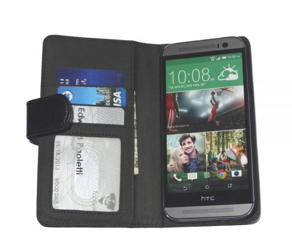 Fliptroniks Black Leather Wallet Flip Case Cover for HTC One M8