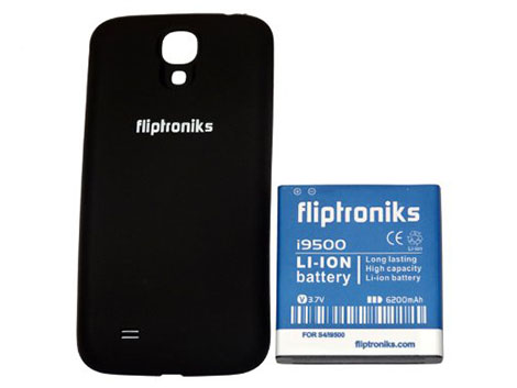 Fliptroniks Samsung Galaxy S4 6200mAh Extended Battery + Black Back Matte Finish Cover