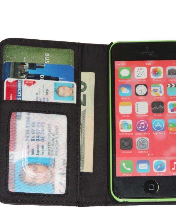Fliptroniks Black Leather Wallet Flip Case for Apple Iphone 5c