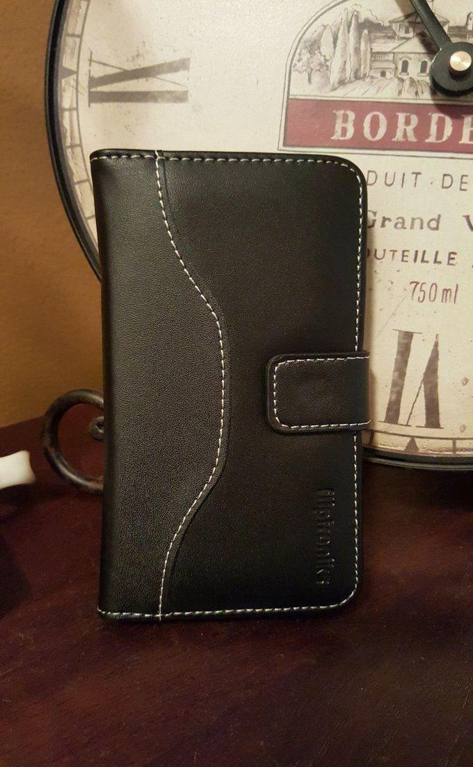 Fliptroniks Apple Iphone 6 Plus Black Real Leather Wallet Case Panther Series