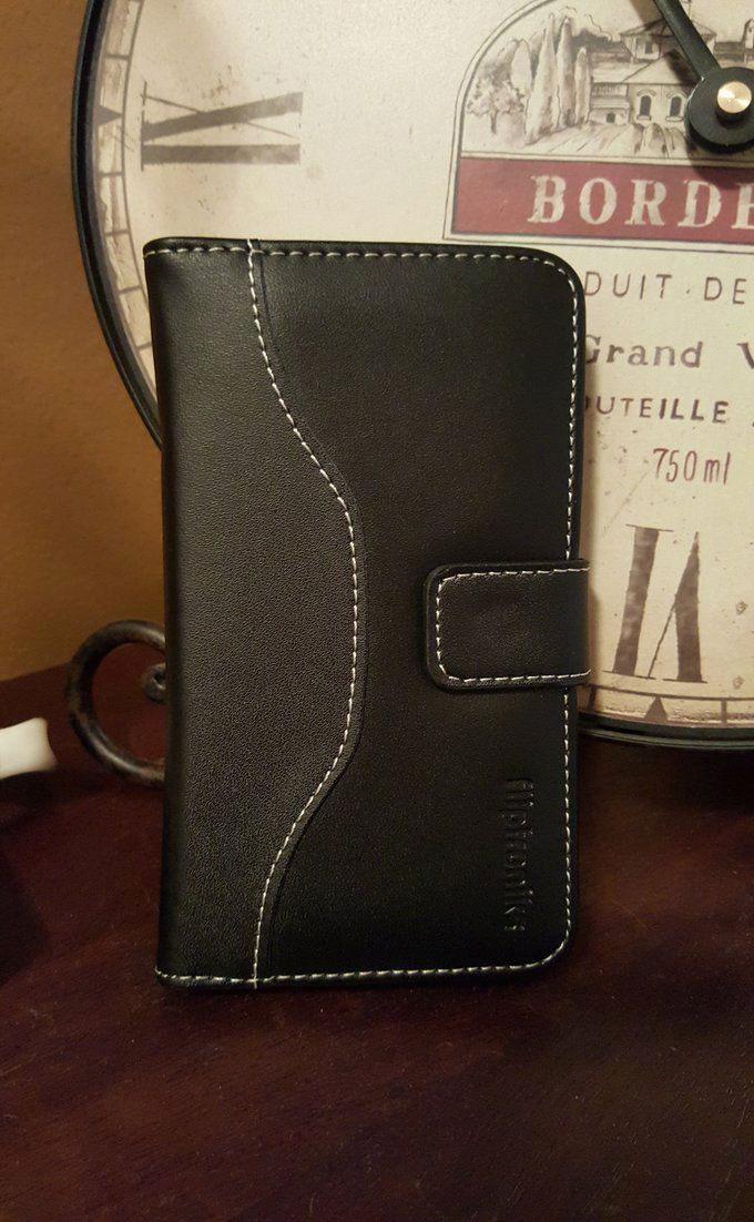 Fliptroniks Samsung Galaxy S6 Black Real Leather Wallet Case