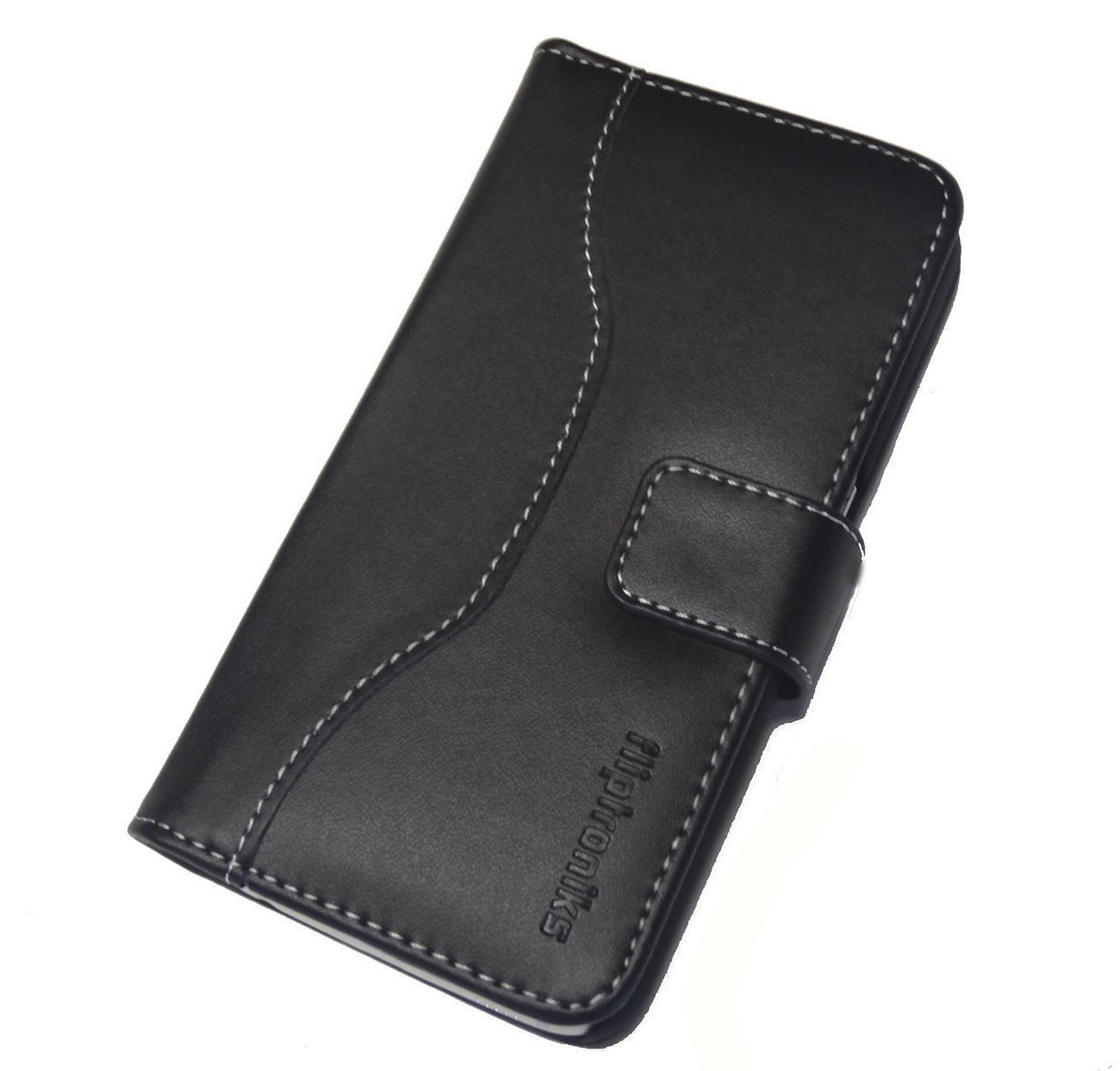 Fliptroniks Samsung Galaxy S6 Edge Black Real Leather Wallet Case